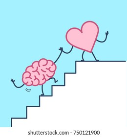 heart helping hand brain to success. Vector concept illustration of heart cooperation with brain on stairs to goal | flat design linear infographic icon on blue background