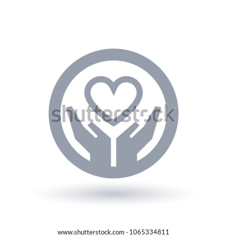 Heart Helping Hands Icon Circle Outline Stock Vector Royalty Free