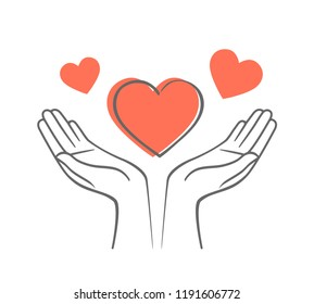 Heart in his hands. Symbol of love and charity. Illustration in hand drawn style