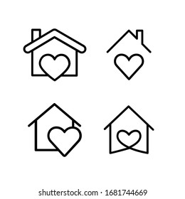 Heart with home shape designed as a logo or icon. this icons prepared for coronovirus (covid-19) Remarkable icons shows messages ''stay home'' or ''stay safe''