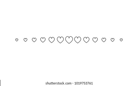 Heart Horizontal Line Simple Shape Vector Symbol Icon Design. Illustration of  hearts line divider isolated on white background.
