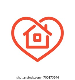 Heart with house shape within line style icon, love home symbol, vector illustration isolated on white background