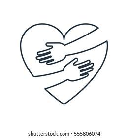 Heart hug isolated line icon on white background