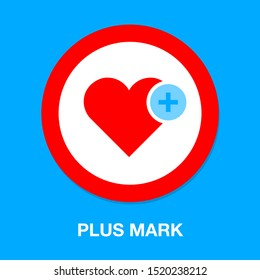 Heart icon with Add sign, favorite symbol - plus mark element