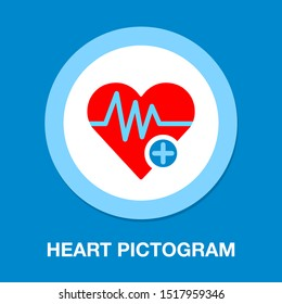 Heart icon with add sign, Heartbeat symbol, ecg or ekg heart beat illustration