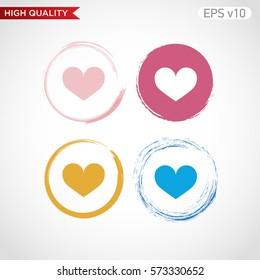 Heart icon. Button with heart icon. Modern UI vector.