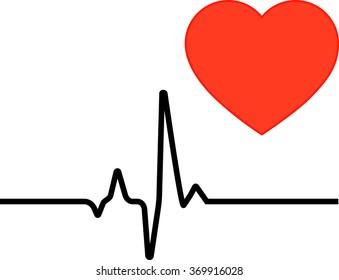 The heart icon and cardiogram, red heart, black cardiogram, medicine, vector