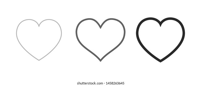 Heart icon collection. Live stream video, chat, likes. Social media.