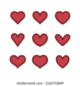 Heart icon collection, love symbol, set of vector hearts