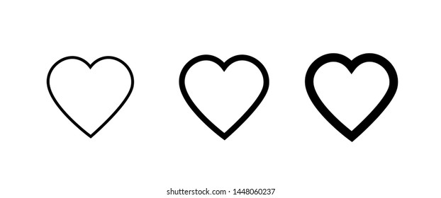 Heart icon collection, love symbols - Vector