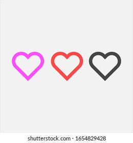 Heart icon collection, love symbols. Vector
