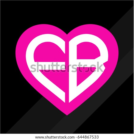 Heart Icon F B Letter Initials Stock Vector Royalty Free 644867533