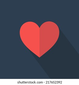 Heart icon. Flat design. Vector illustration
