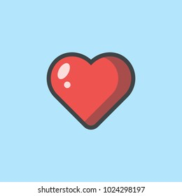 Heart Icon Illustraion Vector. Love symbol. Valentine's Day sign, emblem isolated on white background with shadow, Flat style for graphic and web design, logo.