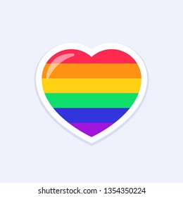 Heart Icon. LGBTQ+ related symbol in rainbow colors. Gay Pride. Raibow Community Pride Month. Love, Freedom, Support, Peace Symbol. Flat Vector Design Isolated on White Background
