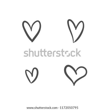 Heart Icon Love Symbol Isolated Handmade Stock Vector Royalty Free