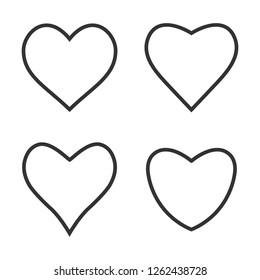 Heart icon love symbol set. Vector illustration, flat design.