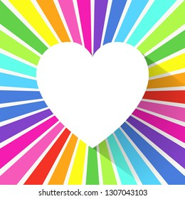 Heart icon on rainbow rays background. Bright love, wedding and Valentine's Day design. Vector illustration.