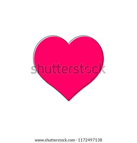 Heart Icon Outline Design Template Vector Illustration