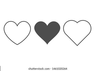 Heart icon. Outline love vector signs isolated on a background. Gray black graphic shape line art for romantic wedding  or valentine gift.