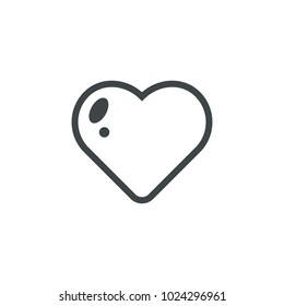 Heart Icon Outline Vector. Love symbol. Valentine's Day sign, emblem isolated on white background, Flat style for graphic and web design, logo.