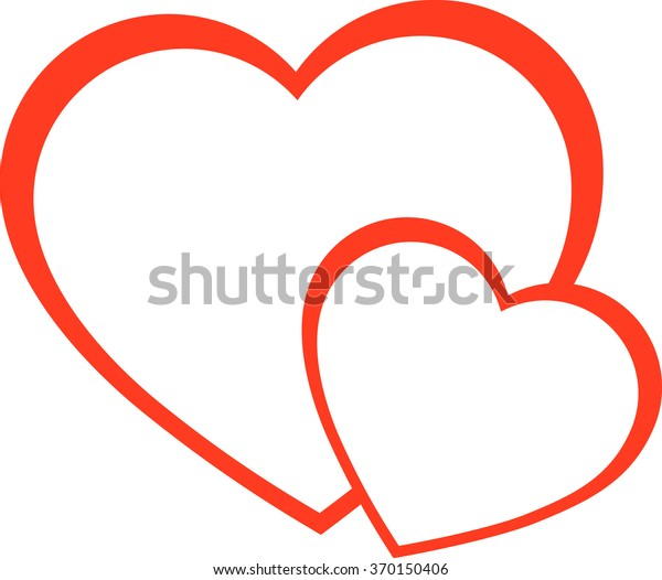 the heart icon, a red heart, two hearts, vector