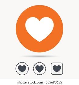 Heart icon. Romantic love symbol. Orange circle button with web icon. Star and square design. Vector