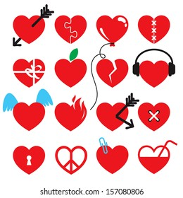 Heart icon set.