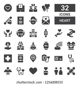heart icon set. Collection of 32 filled heart icons included Medical, Bride, Charity, Heart, Medical insurance, Medicine, Phonendoscope, Blood donation, Hospital, Love, Peace