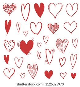 Heart icon set - doodle vector heart shapes collection.