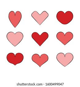 Heart Icon Set filled with pink and red with drawn outline