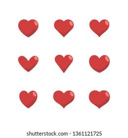 Heart icon set, love symbol. Vector illustrations.