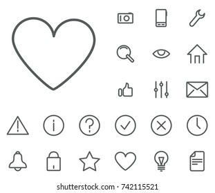 Heart icon in set on the white background. Universal linear icons to use in web and mobile app.