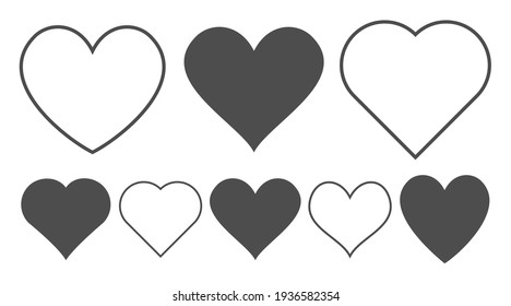 Heart icon set. Outline shape love sign isolated on a background. Vector illustration
