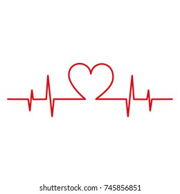 heart icon with sign heartbeat romantic love