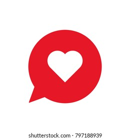 Heart icon, social media love dialog symbol