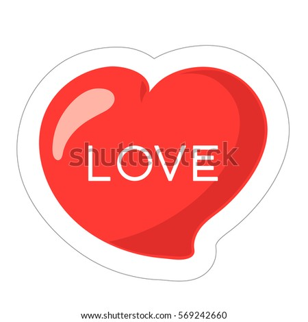Heart Icon Sticker Valentines Day Vector Stock Vector Royalty Free