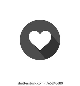 heart icon, symbol of love, flat design isolated vector with drop shadow