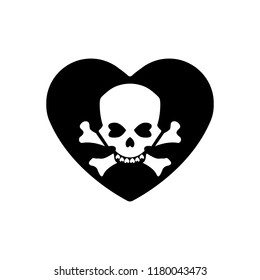 Heart icon. A symbol of love. Valentine s day with the sign of the Human skull and crossbones. Flat style for graphic and web design, logo. Adrenaline addiction , Vector illustration.