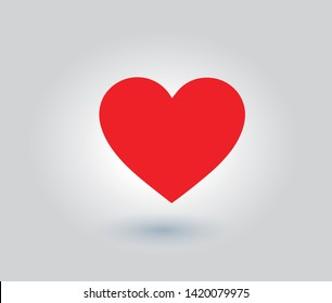 Heart icon, symbol, red, shiny, on a gray background
