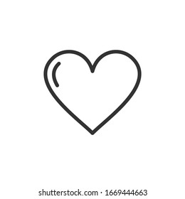 Heart icon template color editable. Heart symbol vector sign isolated on white background.