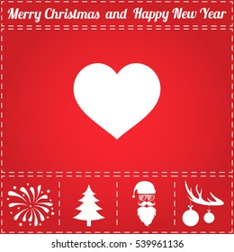 Heart Icon Vector. And bonus symbol for New Year - Santa Claus, Christmas Tree, Firework, Balls on deer antlers