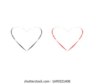 Heart icon vector hand drawn design. love vector illustration. grunge love decorative design elements color editable