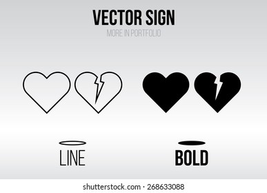 Heart icon vector, linear and bold style