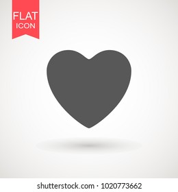 Heart Icon Vector. Love symbol. Valentine's Day sign, emblem isolated on white background with shadow, Flat style for graphic and web design, logo. EPS10 black pictogram