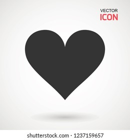 Heart Icon Vector. Love symbol. Valentine s Day sign, emblem isolated on white background with shadow, Flat style for graphic and web design, logo. EPS10 black pictogram