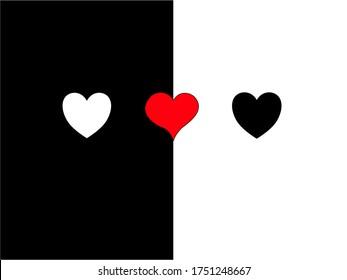 Heart icon vector set. Black lives matter. Racial harmony and diversity.