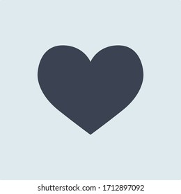 Heart icon. vector symbol blue color in simple flat style on white blue background
