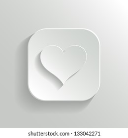 Heart icon - vector white app button with shadow