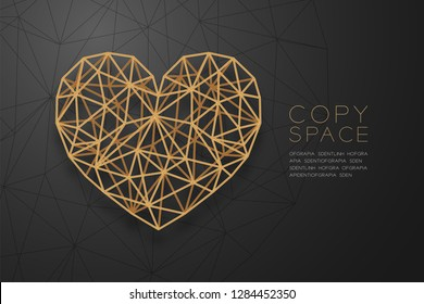 Heart icon wireframe polygon golden frame structure, Valentine's day concept design illustration isolated on black gradient background with copy space, vector eps 10